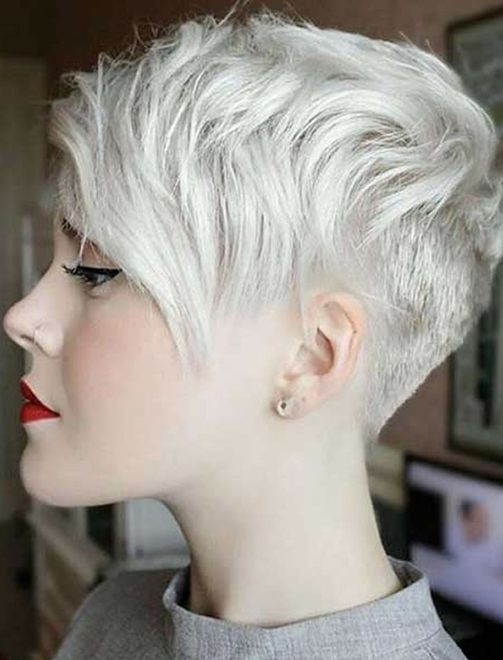 Gray Short Hair Pixie Hairstyles for Girls 2017-2018