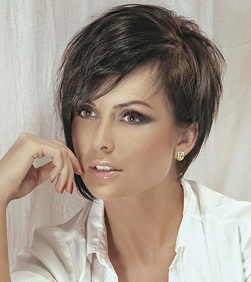 Side Swept Short Haircut with Long Bangs