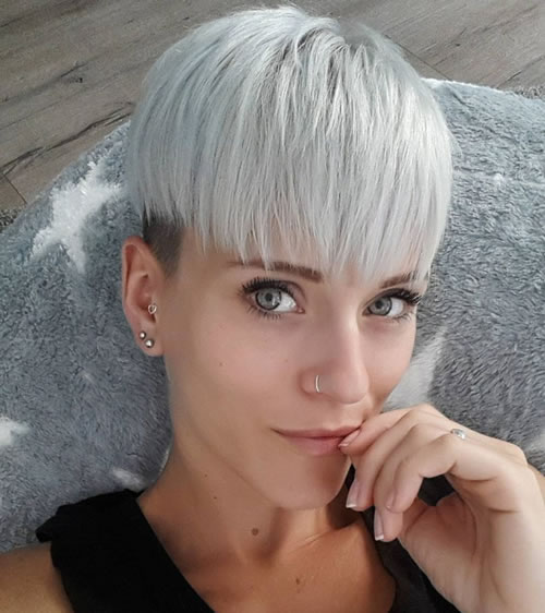Grey Hair Color - Short Bowl Hairstyles for Women 2018