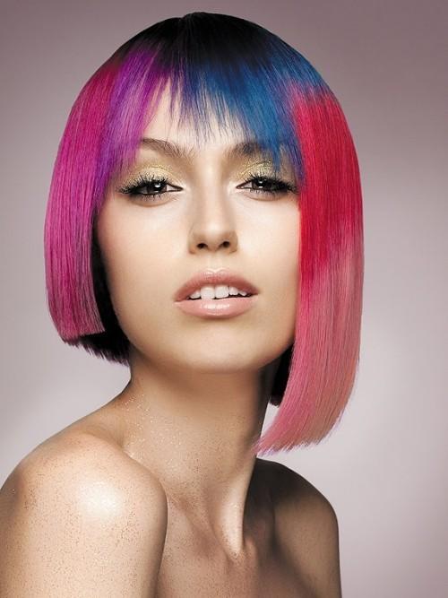 capelli rosa asimmetrici